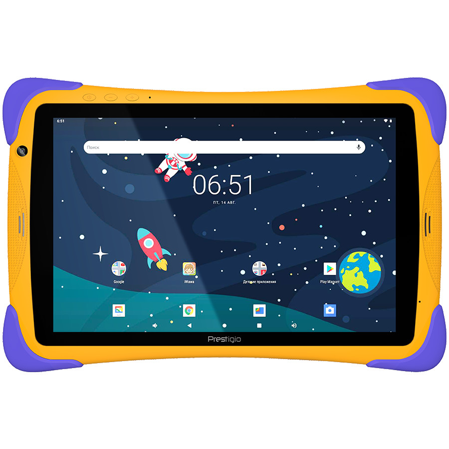 "Prestigio SmartKids UP, 10.1"" (1280*800) IPS display, Android 10 (Go edition), up to 1.5GHz Quad Core RK3326 CPU, 1GB + 16GB, BT 4.0, WiFi, 0.3MP front cam + 2.0MP rear cam, USB Type-C, microSD card slot, 6000mAh battery. Color: orange-violet"