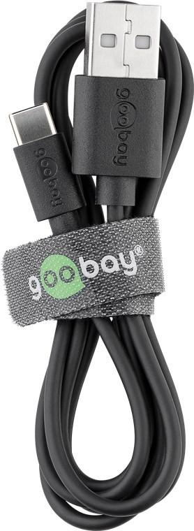 Goobay USB-C charging and sync cable (USB-A > USB-C) 38675 0.1 m, Black