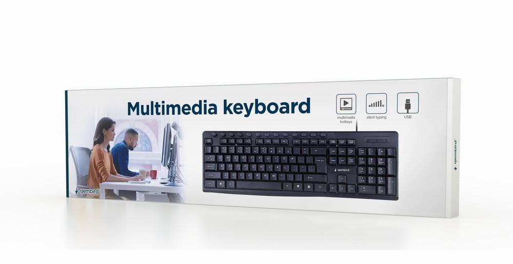 Gembird Multimedia Keyboard KB-UM-107 USB Keyboard, Wired, US, Black