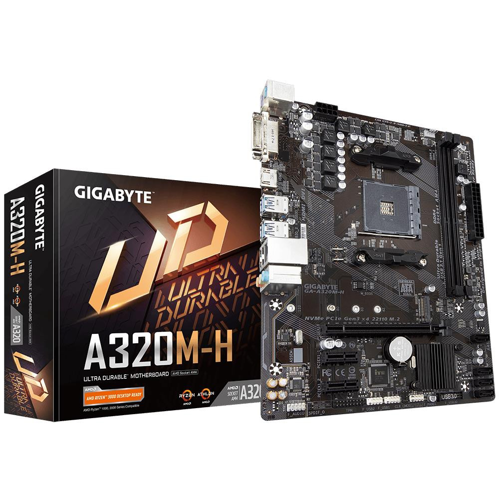 Mainboard|GIGABYTE|AMD A320|SAM4|MicroATX|2xPCI-Express 2.0 1x|1xPCI-Express 3.0 16x|1xM.2|Memory DDR4|Memory slots 2|1xDVI|1xHDMI|2xAudio-In|1xAudio-Out|2xUSB 2.0|4xUSB 3.1|2xPS/2|1xRJ45|GA-A320M-H3.0