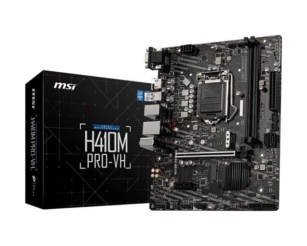 Mainboard MSI Intel H410 Express LGA1200 MicroATX Memory DDR4 Memory slots 2 1xPCI-Express 3.0 1x 1xPCI-Express 3.0 16x 1xM.2 1x15pin D-sub 1xHDMI 1xAudio-In 1xAudio-Out 1xMicrophone 4xUSB 2.0 2xUSB 3.2 1xPS/2 1xRJ45 H410MPRO-VH
