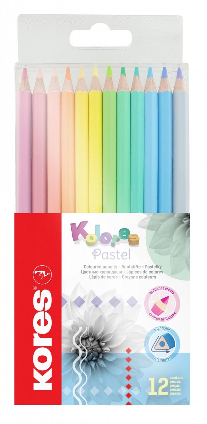 Värvilised pliiatsid Kores Kolores Style, kolmnurksed, pastellsed värvid, 12 tk