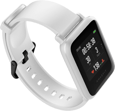 Amazfit Smart Watch Bip S GPS (satellite), TFT LCD, Touchscreen, Heart rate monitor, Waterproof, Bluetooth, White Rock