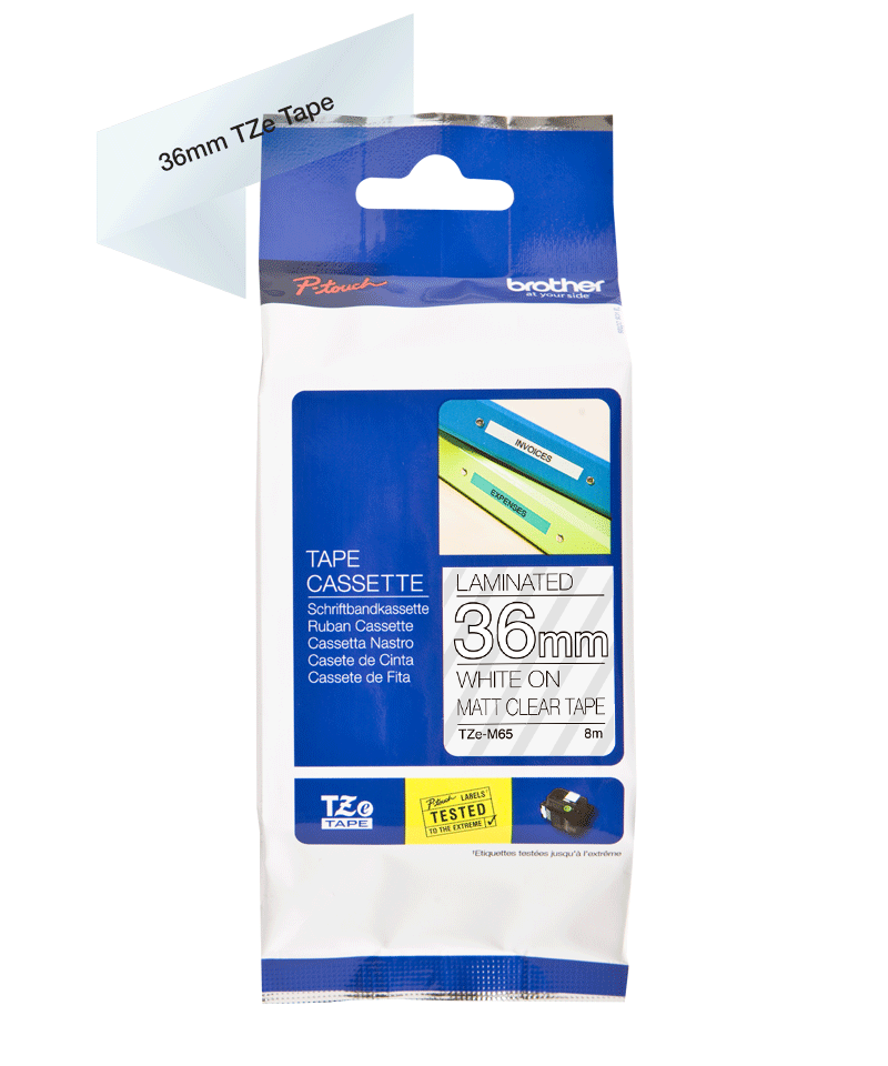 Brother Matte Laminated Label Tape Cartridge TZeM65 White on transparent background, TZe, 8 m, 3.6 cm