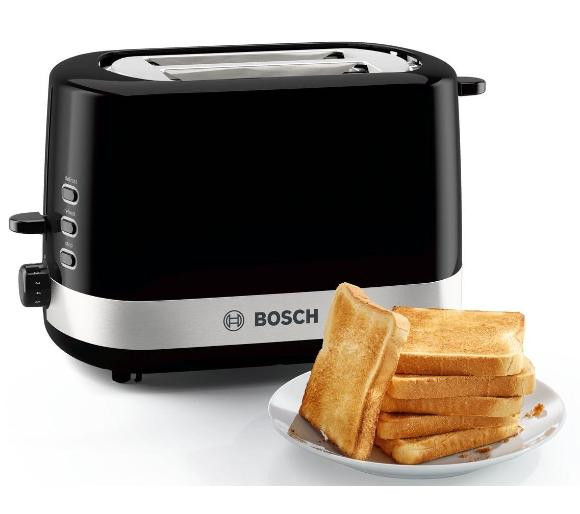 Bosch Toaster TAT7403 Power 800 W, Number of slots 2, Housing material Plastic, Black/Stainless steel