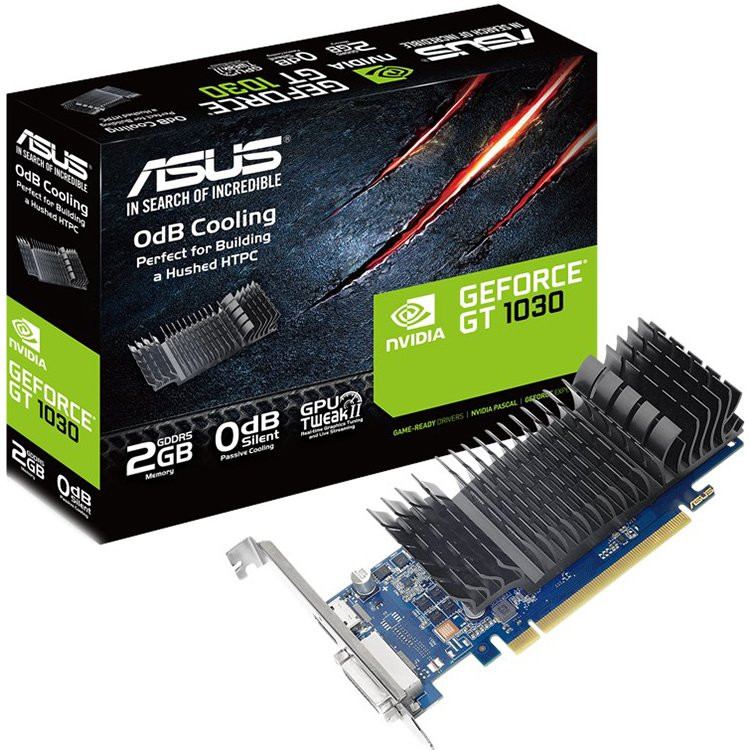 ASUS Video Card NVidia GeForce GT 1030 2GB GDDR5 low profile Silent passive cooling 90YV0AT0-M0NA00