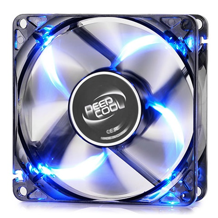 "deepcool ""WIND BLADE"" 80mm  Semi-transparent black fan frame with 4 Blue LED  case ventilation fan"
