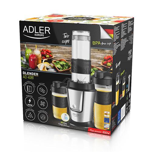 Adler Blender AD 4081 Tabletop, 800 W, Jar material BPA Free Plastic, Jar capacity 0.57 and 0.4 L, Ice crushing, Black/Stainless steel