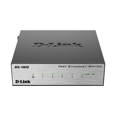 D-Link Switch DES-1005D Unmanaged, Desktop, 10/100 Mbps (RJ-45) ports quantity 5, Power supply type Single