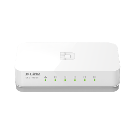 D-Link Switch DES-1005C Unmanaged, Desktop, 10/100 Mbps (RJ-45) ports quantity 5, Power supply type Single