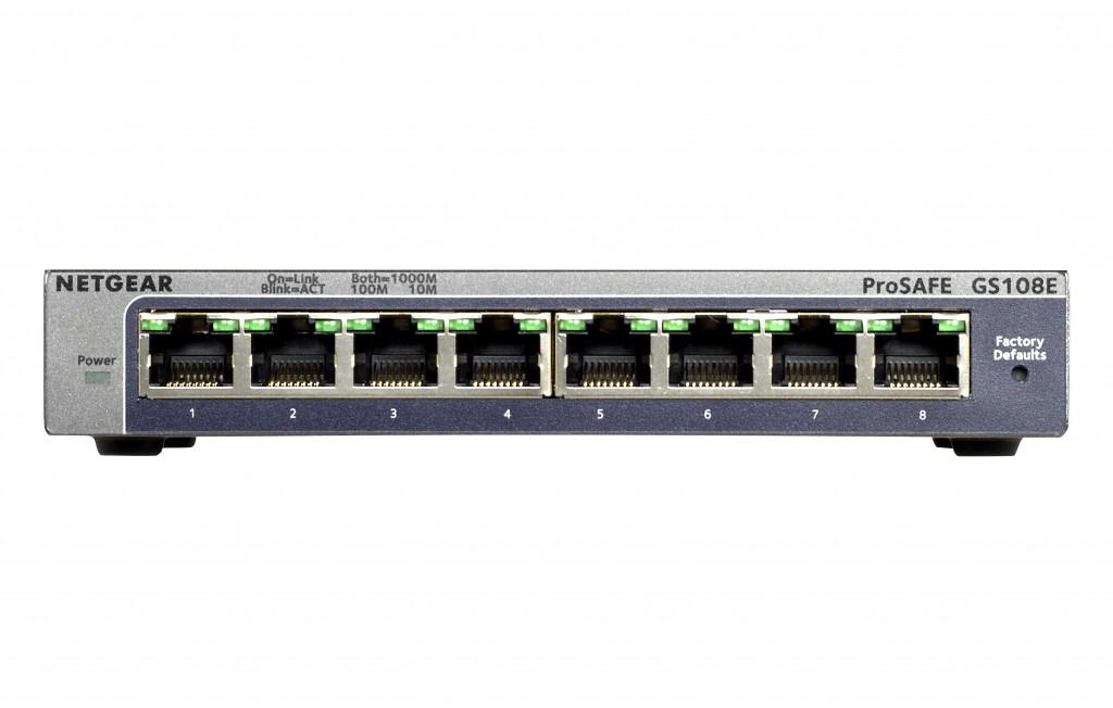 Netgear Switch GS108E Web Management, Desktop, 1 Gbps (RJ-45) ports quantity 8, Power supply type External