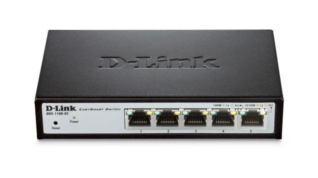 D-Link Switch DGS-1100-05 Web Management, Desktop, 1 Gbps (RJ-45) ports quantity 5, Power supply type Single