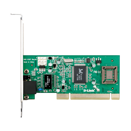 D-LINK DGE-530T, Managed Gigabit Ethernet NIC, 10/100/1000Mbps Managed Gigabit Ethernet UTP 32-bit PCI 2.2 (Bus Master) NIC, PnP, VLAN, 802.1p, Flow control, Jumbo Frame 7k, Windows XP 32/64 bit, Windows Vista 32/ 64bit, Windows 7 32/ 64bit, Windows 8 32/ 64bit, Linux 2.4.x/2.6.x, Free BSD 7.x and 8.0 (Low profile bracket included) D-Link