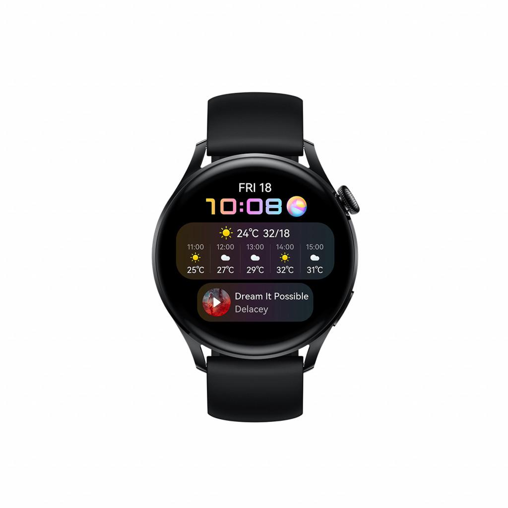 "Huawei WATCH 3 3,63 cm (1.43"") 46 mm AMOLED 4G Must GPS (satelliit)"