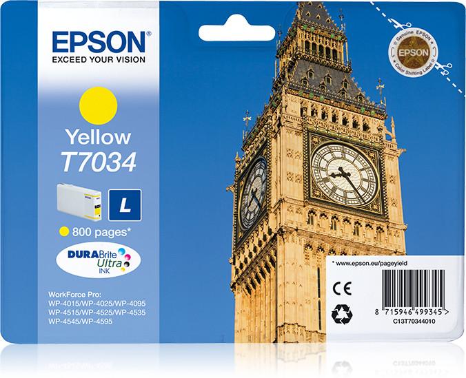 Epson Big Ben WP4000/4500 Series Ink Cartridge L Yellow 0.8k