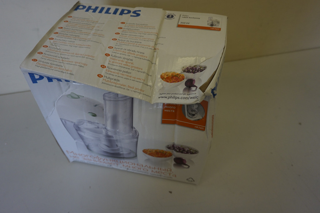 SALE OUT. Philips Food processor HR7605/10 White, 350 W, Number of speeds 1, 2.1 L, DAMAGED PACKAGING