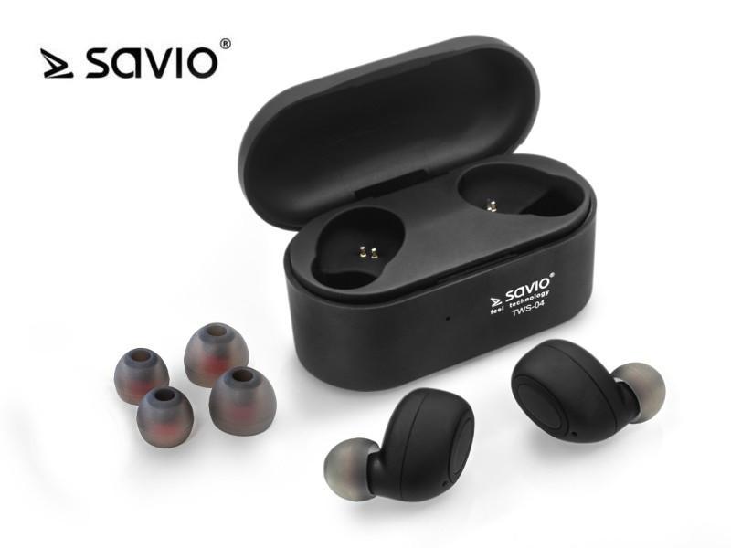 Bluetooth Wireless Headphones v.5.0 with Microphone and Power Bank Savio TWS-04