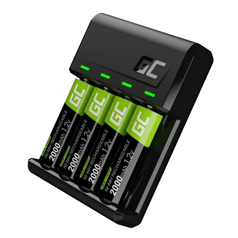 VitalCharger charger 4x Batteries AA 2000mAh