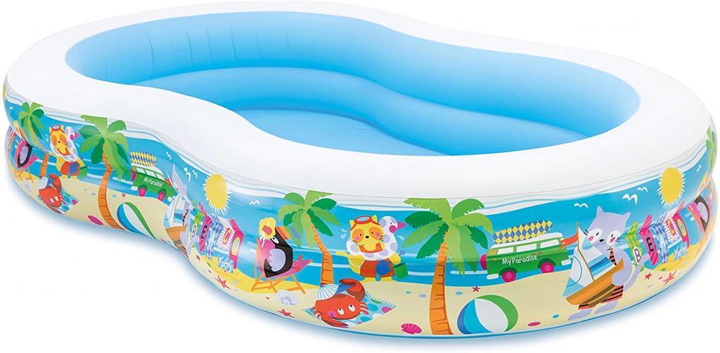 Intex Laguna Swimming Pool Oval, White/Blue, Age 3+, 255 x 160 x 46  cm