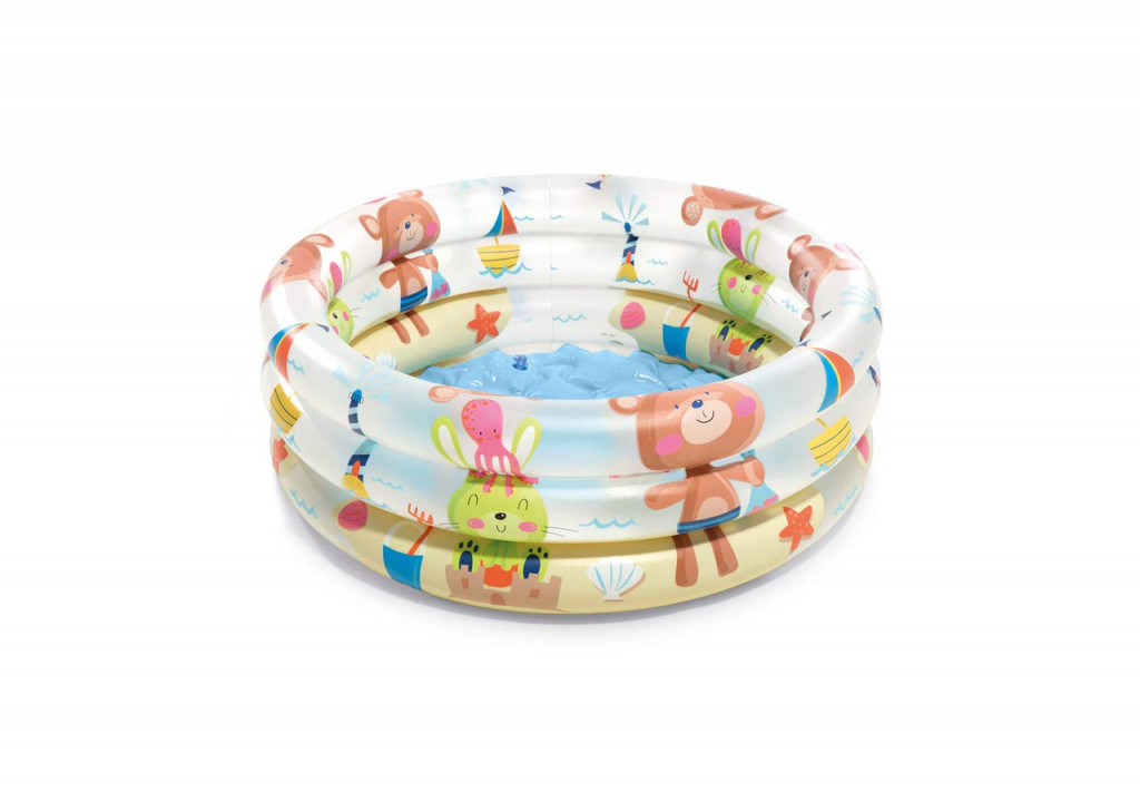 Intex Beach Buddies 3-Ring Baby Pool Multicolour,  61 x 22 cm, Age 1-3