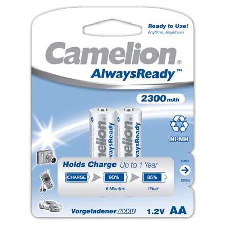 Camelion AA/HR6, 2300 mAh, AlwaysReady Rechargeable Batteries Ni-MH, 2 pc(s)