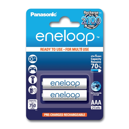 Panasonic eneloop AAA/HR03, 750 mAh, Rechargeable Batteries Ni-MH, 2 pc(s)