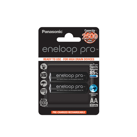 ab953adc1f2 Panasonic eneloop AA/HR6, 2500 mAh, Rechargeable Batteries Ni-MH, 2 pc(s)