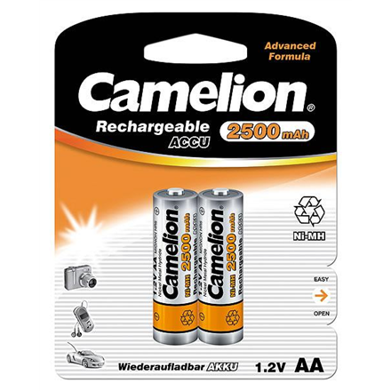 Camelion AA/HR6, 2500 mAh, Rechargeable Batteries Ni-MH, 2 pc(s)
