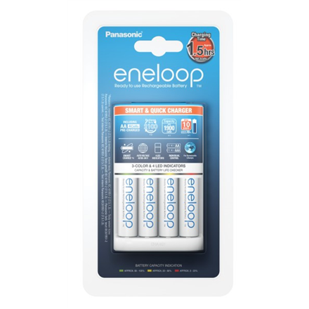 Panasonic Eneloop Battery Charger +  4 x R6/AA  K-KJ55MCC40E Ni-MH, Rapid charging option. Detection of damaged batterie., AA