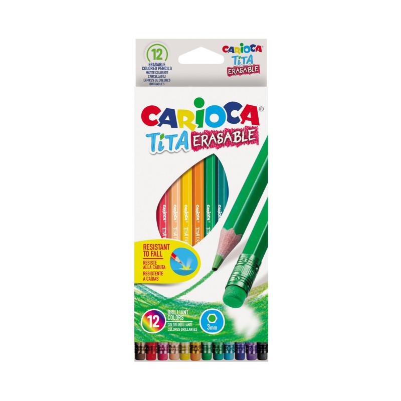Värvipliiatsid CARIOCA TITA, kustutuskummiga kustutatavad, 12 värvi