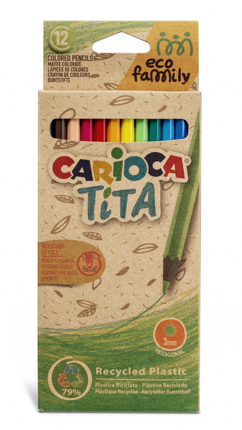 Värvipliiatsid CARIOCA TITA ECOFAMILY, 12 tk