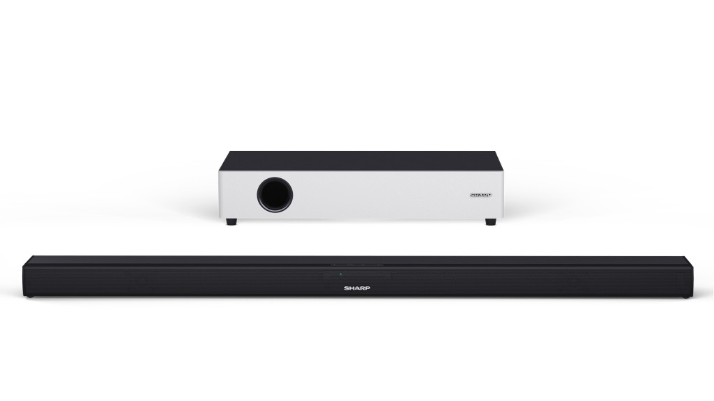 """Sharp HT-SBW160 2.1 Ultra Slim Soundbar with Flat Wireless Subwoofer for TV above 40"""", HDMI ARC/CEC, Aux-in, Optical, Bluetooth, 90cm, Table"""