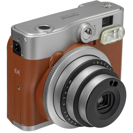 Fujifilm Instax Mini 90 NEO CLASSIC camera + Instax mini glossy (10) Brown/Stainless steel, 0.3m - ∞