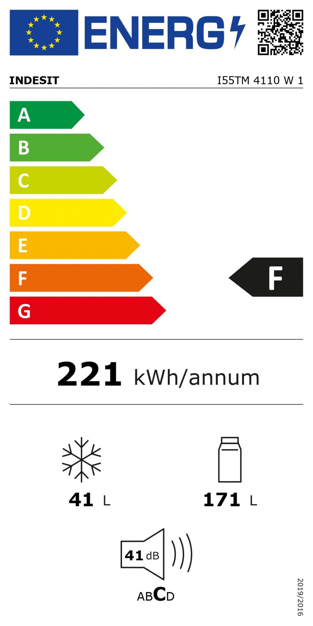 INDESIT Refrigerator I55TM 4110 W 1 Energy efficiency class F, Free standing,  Double Door, Height 144 cm, Fridge net capacity 171 L, Freezer net capacity 41 L, 41 dB, White