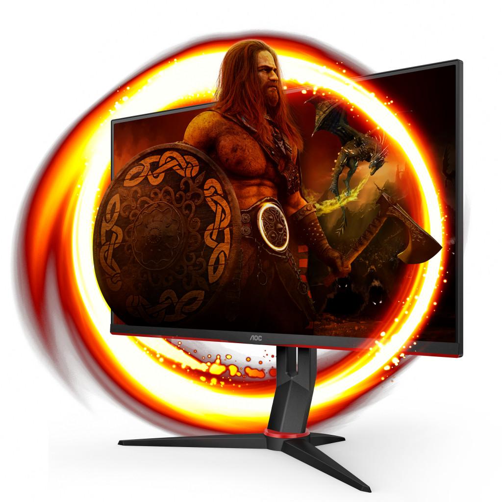 """AOC 24G2SU/BK PC lamekuvar 60,5 cm (23.8"""") 1920 x 1080 pikslit Full HD Must, Punane"""