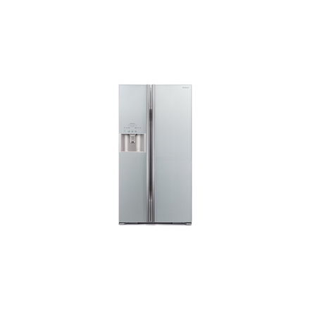 Hitachi Refrigerator R-S700GPRU2 (GS) A++, Free standing, Side by Side, Height 177.5 cm, No Frost system, Fridge net capacity 377 L, Freezer net capacity 212 L, Display, 43 dB, Glass Silver