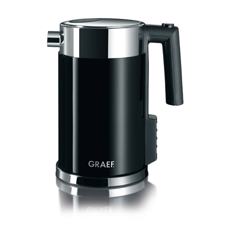 Kettle GRAEF. WK 702 With electronic control, Stainless steel, Black, 2000 W, 360° rotational base, 1.5 L