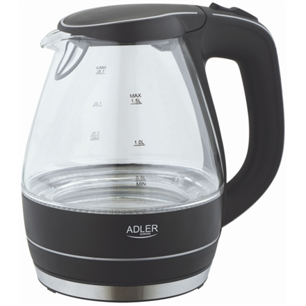 Kettle Adler Kettle AD 1224 Standard, Glass, Black, 2000 W, 360° rotational base, 1.5 L