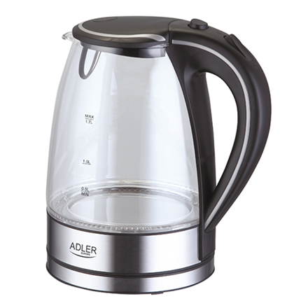 Kettle Adler Kettle AD 1225 Standard, Glass, Stainless steel/Black, 2000 W, 360° rotational base, 1.7 L
