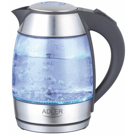 Adler AD 1246 Standard kettle, Glass, Stainless steel/Black, 2000 W, 360° rotational base, 1.8 L