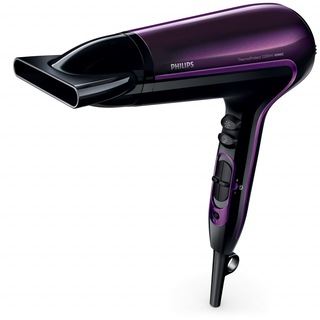 Hair Dryer Philips ThermoProtect Warranty 24 month(s), Ionic function, Motor type DC, 2200 W, Black/Purple