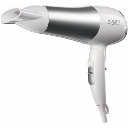 Hair Dryer Adler Warranty 24 month(s), Foldable handle, Motor type DC, 2200 W, White/Silver
