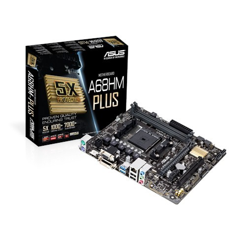 Asus A68HM-Plus Processor family AMD, Processor socket FM2+, DDR3-SDRAM, Memory slots 2, Supported hard disk drive interfaces Serial ATA III, Chipset AMD A, Micro ATX