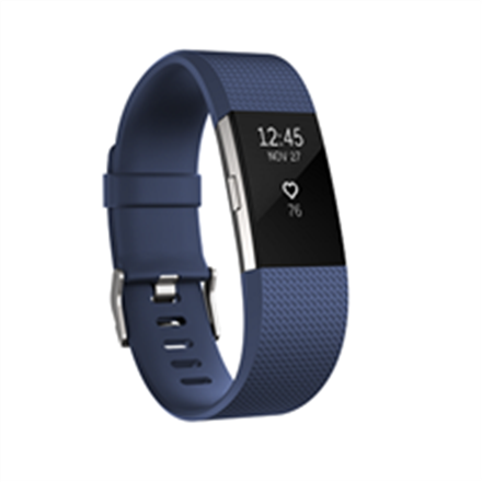 Fitbit Charge 2 Fitness tracker, OLED, Heart rate monitor, Activity monitoring 24/7, Waterproof, Bluetooth, Blue/stainless steel