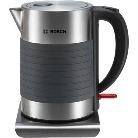 Bosch TWK7S05 Standard kettle, Stainless steel/Plastic, Grey, 2200 W, 360° rotational base, 1.7 L